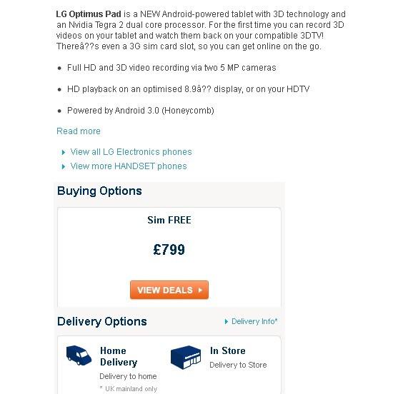 Carphone Warehouse exorbitantly prices the LG Optimus Pad at £799