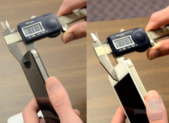 Using a caliper, Consumer Reports measured both the white and black Apple iPhone at .37 inches thick