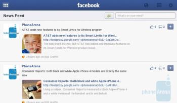 Facebook App for the BlackBerry PlayBook Demonstration
