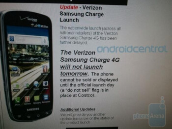 This internal screenshot for Costco employees says that the Samsung DROID Charge will not launch Tuesday as expected