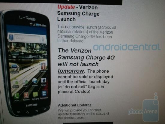 This internal screenshot for Costco employees says that the Samsung DROID Charge will not launch Tuesday as expected - Costco says Samsung DROID Charge will not launch today; Walmart leaks its price