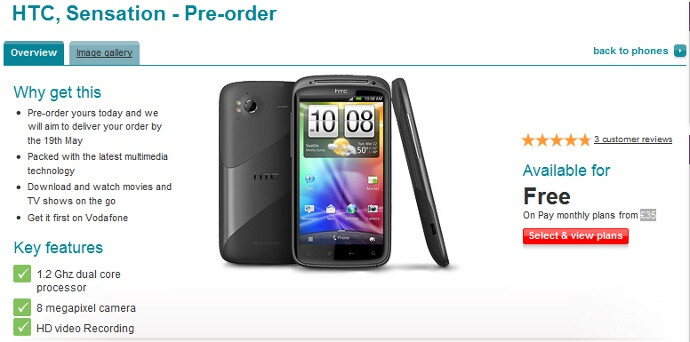 HTC Sensation available for pre-order at Vodafone, release date stated as May 19