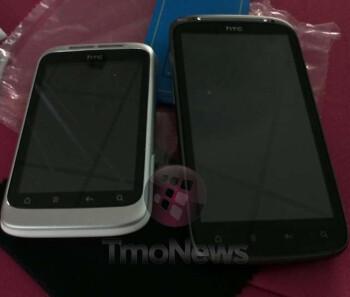 Unbranded HTC Marvel for T-Mobile alongside an HTC Sensation 4G.
