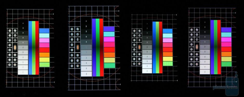 From left to right - LG Optimus Black, Samsung Galaxy S II, Apple iPhone 4, LG Optimus 2X - NOVA Display vs Super AMOLED Plus vs Retina Display vs IPS LCD