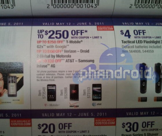 Based on this Costco coupon book, the Samsung Infuse 4G and its 4.5 inch display will be launched May 12th - Costco coupon book hints at May 12th launch for AT&T's Samsung Infuse 4G