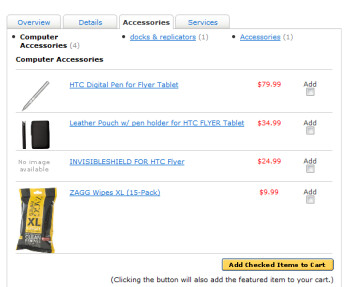 Best Buy's web site shows the digital stylus for the HTC Flyer as an accessory priced at $79.99