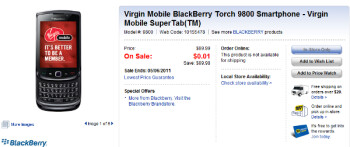 Today only, the BlackBerry Torch 9800 is free with a signed 3 yeaqr pact