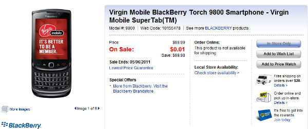 Today only, the BlackBerry Torch 9800 is free with a signed 3 yeaqr pact - Best Buy Canada's Free Phone Friday premieres with the BlackBerry Torch 9800