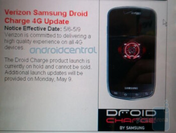 The Samsung DROID Charge launch remains on hold; next update from Costco is due Monday