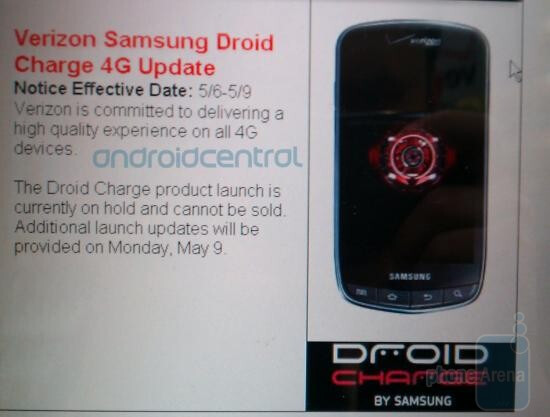 The Samsung DROID Charge launch remains on hold; next update from Costco is due Monday - Costco keeps us informed about the Samsung DROID Charge