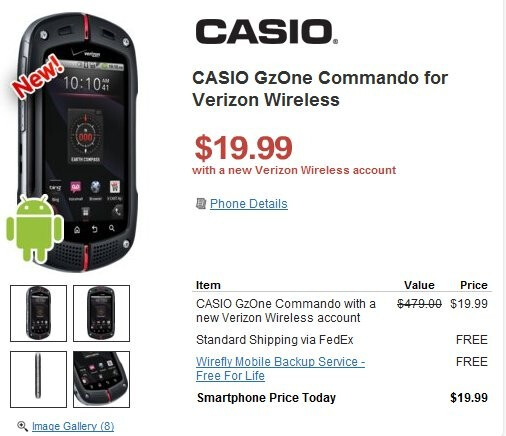 Casio G'zOne Commando is flaunting a $19.99 on-contract price through Wirefly