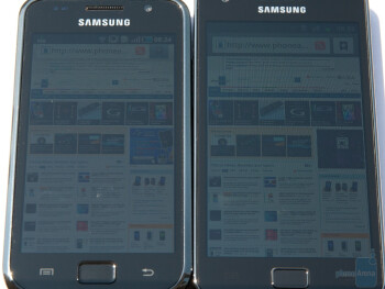 Outdoor visibility - Samsung Galaxy S (left) and Samsung Galaxy S II - Super AMOLED Plus vs Super AMOLED: to the PenTile matrix and back