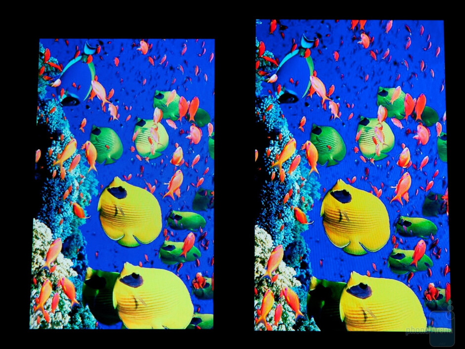 Samsung Galaxy S (left) and Samsung Galaxy S II color saturation - Super AMOLED Plus vs Super AMOLED: to the PenTile matrix and back