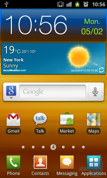 The TouchWiz 4.0 interface has a redrawn icon set and other visual improvements