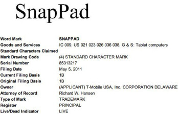 T-Mobile reserves the SnapPad brand, looks like a new tablet