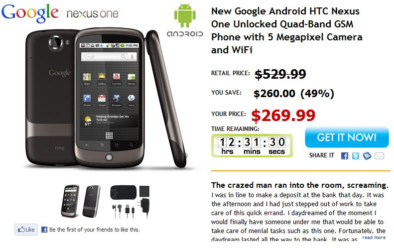 Unlocked & no-contract required Google Nexus One is selling for $270