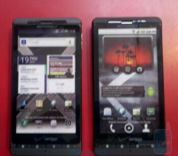 The dummy units of the Motorola DROID X2 (L) have arrived at Costco signaling that the launch should be soon