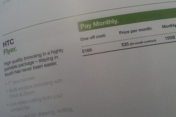 Three UK catalog displays the price of the HTC Flyer at £169 on-contract