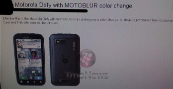 "T-Mobile is going to sell only the Motorola DEFY in ""all black"" going forward"