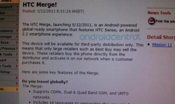Verizon's HTC Merge is going on sale today, but only through third-party distribution