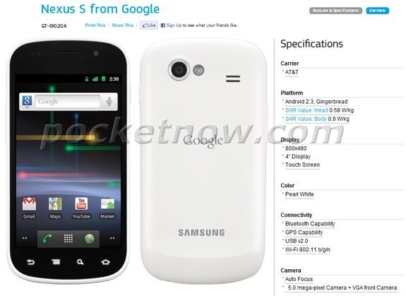 White Nexus S is briefly spotted on Samsung's web site showing AT&T support