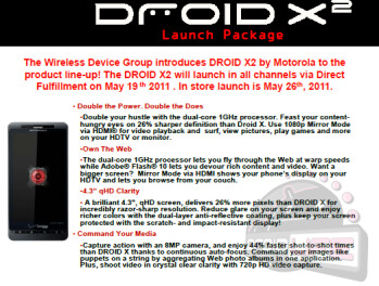 Motorola DROID X 2 coming to Verizon on May 19th, in stores on the 26th