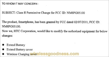 The revised back cover for the HTC ThunderBolt  has just visited the FCC