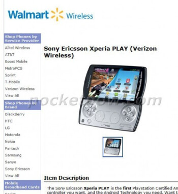 Walmart will be offering the Sony Ericsson Xperia PLAY with launch rumored to be May 26th