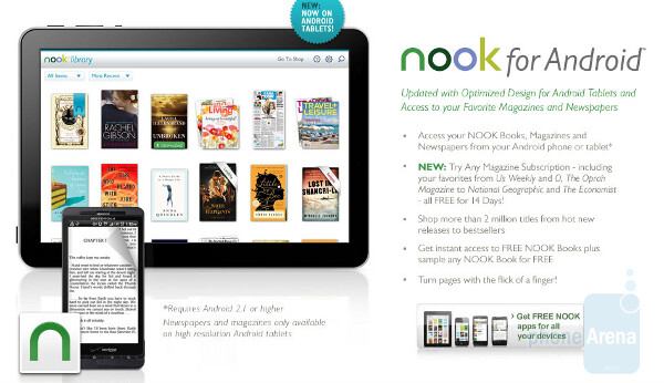 The new updated NOOK app for Android is optimized for the larger sized screens seen on tablets - Update to NOOK app for Android makes your tablet more like a book reader