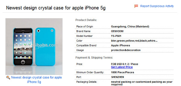 """Alibaba.com is listing the new case for the Apple iPhone 5""""g"""" - Photo of Apple iPhone 5 mock-up is leaked, screen is now edge-to-edge"""