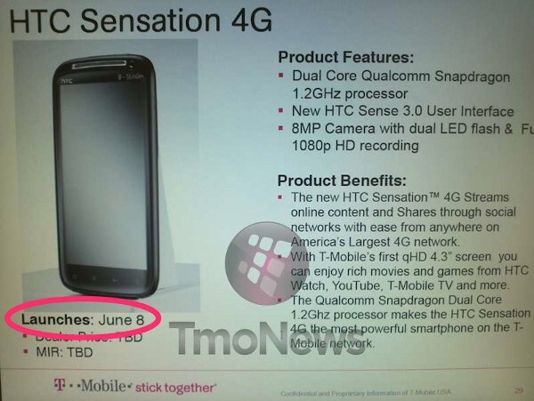 This internal T-Mobile document shows a June 8th launch date for the HTC Sensation 4G - Feel the Sensation on June 8th via T-Mobile