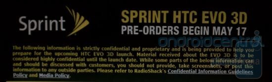 This internal memo tells Radio Shack reps that all information about the HTC EVO 3D, including the retailer's pre-order period for the phone, is highly confidential - Radio Shack joins Best Buy with secret pre-order period for the HTC EVO 3D