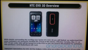 Radio Shack joins Best Buy with secret pre-order period for the HTC EVO 3D