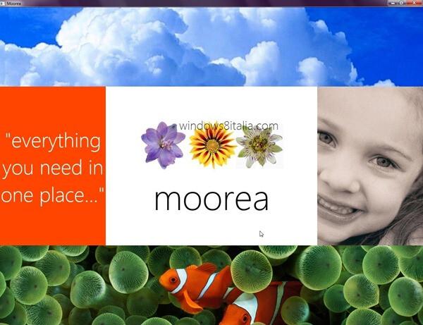Moorea app splash screen - Windows 8 Moorea app reveals a sliver of its tablet-friendly interface