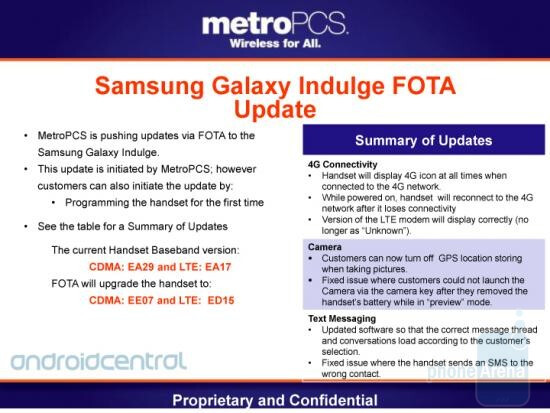 This FOTA upgrade for the Samsung Galaxy Indulge takes care of bugs related to the 4G connectivity, camera and text messages - Samsung Galaxy Indulge gets FOTA update pushed by MetroPCS
