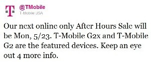 T-Mobile teases After Hours Sale on May 23rd, T-Mobile G2x and G2 to be featured