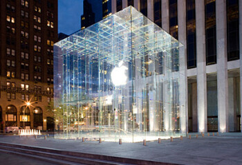 The 32-foot glass cube is the entrance to Apple's NY flagship store