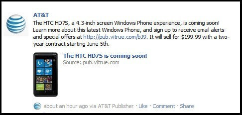 AT&T's Facebook page mentions the HTC HD7S arriving on June 5 for $200 on-contract