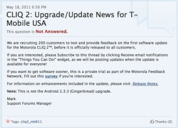 Motorola is looking for 200 CLIQ 2 owners willing to test the handset's first update