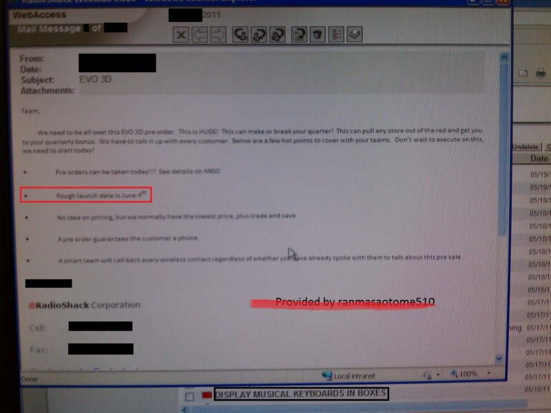 A screenshot of the leaked email sent to RadioShack employees - HTC EVO 3D release date expected to be June 4th