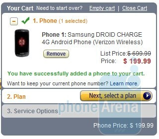 Amazon prices the Samsung Droid Charge more fittingly at $200 for new customers