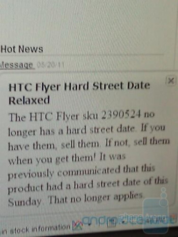 This internal Best Buy memo (L) says that the HTC Flyer can be purchased now from locations with inventory of the tablet