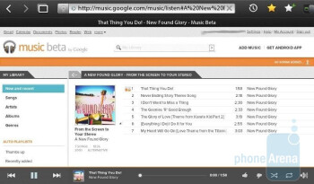 Web based Google Music Beta interface on the Apple iPhone 4 (L) & BlackBerry PlayBook (R)