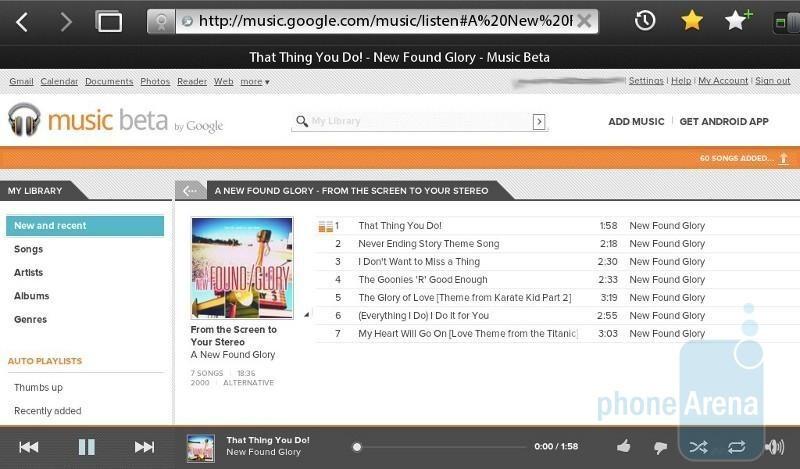 Web based Google Music Beta interface on the Apple iPhone 4 (L) & BlackBerry PlayBook (R) - Google Music Beta Demonstration