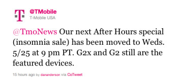 This tweet sent by T-Mobile announces a two-day delay for the carrier's late night