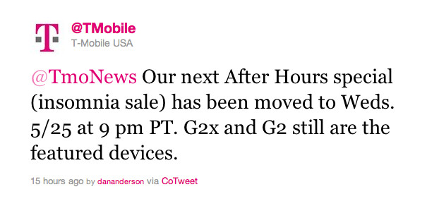 """This tweet sent by T-Mobile announces a two-day delay for the carrier's late night """"insomnia sale"""" - T-Mobile delays its """"insomnia sale"""" to Wednesday; will the carrier's jingle survive the merger?"""