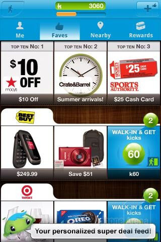 The shopkick mobile app allows you to earn  rewards for just walking into a specific store