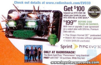 When launched, the HTC EVO 3D will cost $199.99 with a signed 2-year contract at Radio Shack