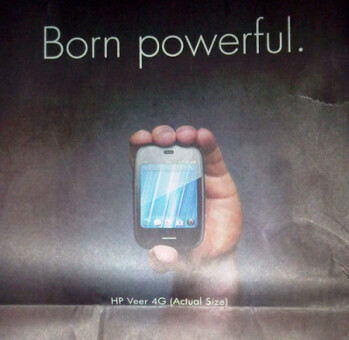 HP shows off the petite size of the Veer 4G on the back of the New York Times