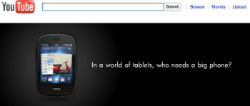 One day after appearing in a full page ad in the NY Times, the HP Veer shows up in a banner ad on YouTube's desktop site